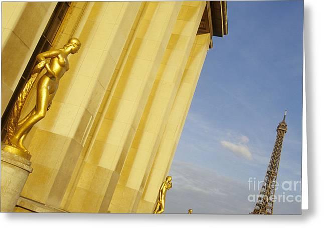 Gold Statue . Trocadero. Paris Greeting Card by Bernard Jaubert