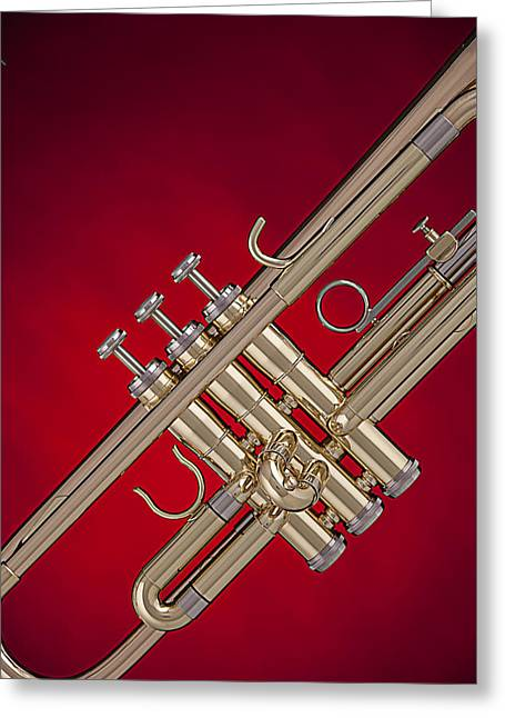 Gold Trumpet Isolated On Red Greeting Card