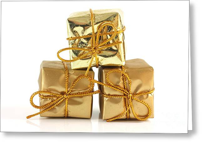 Gold Wrapped Parcels Greeting Card