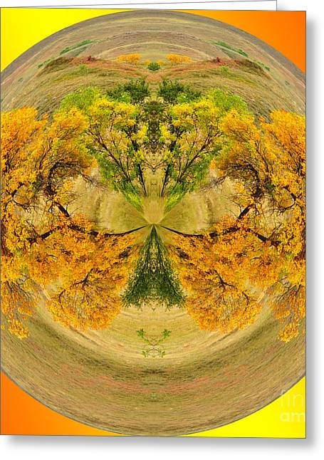 Golden Autumn Greeting Card by Whispering Feather Gallery