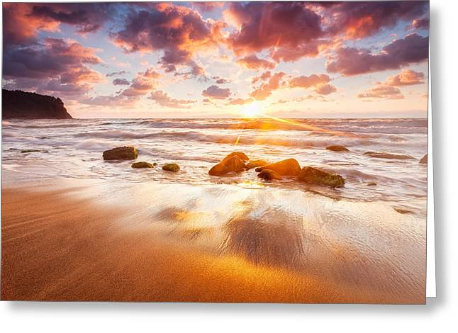 Golden Beach Greeting Card by Evgeni Dinev