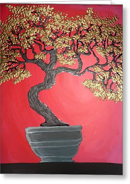 Golden Bonsai Greeting Card by Silvia Louro