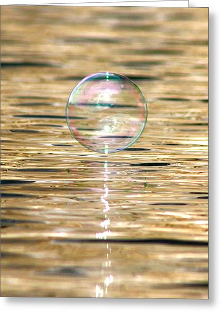Golden Bubble Greeting Card by Cathie Douglas