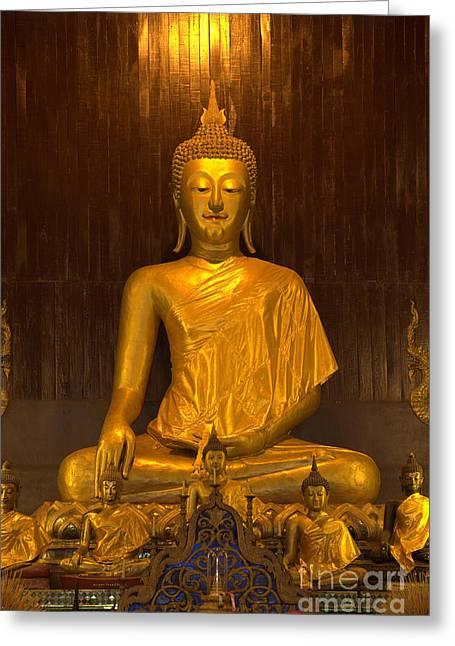 Golden Buddha Statue  Greeting Card by Anek Suwannaphoom