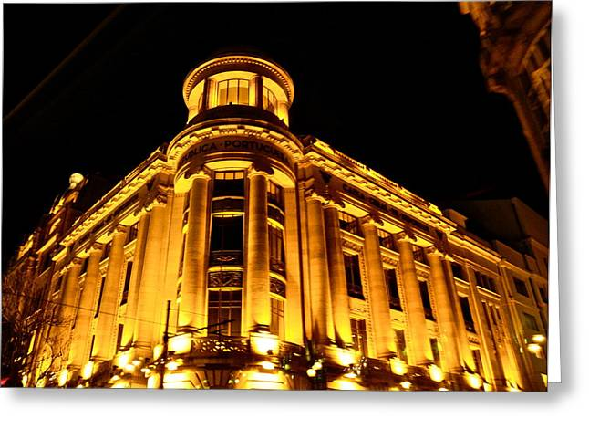 Greeting Card featuring the photograph Golden Building At Night by Kirsten Giving