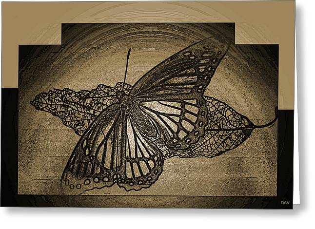Golden Etch Butterfly Greeting Card by Debra     Vatalaro