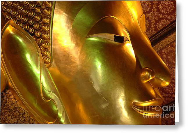 Golden Face Of Buddha Greeting Card by Bob Christopher