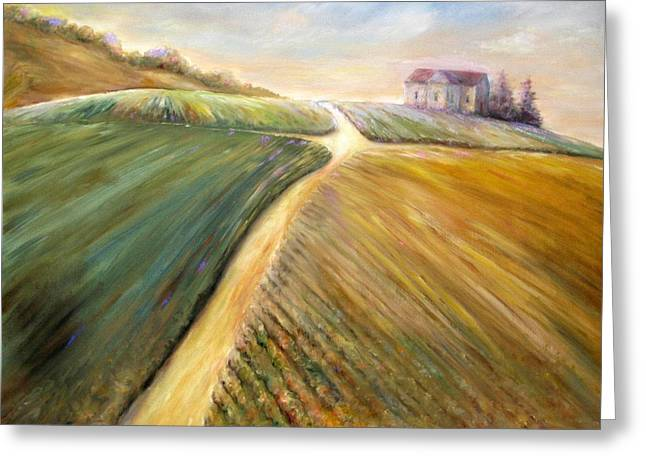 Greeting Card featuring the painting Golden Fields by Bonnie Goedecke