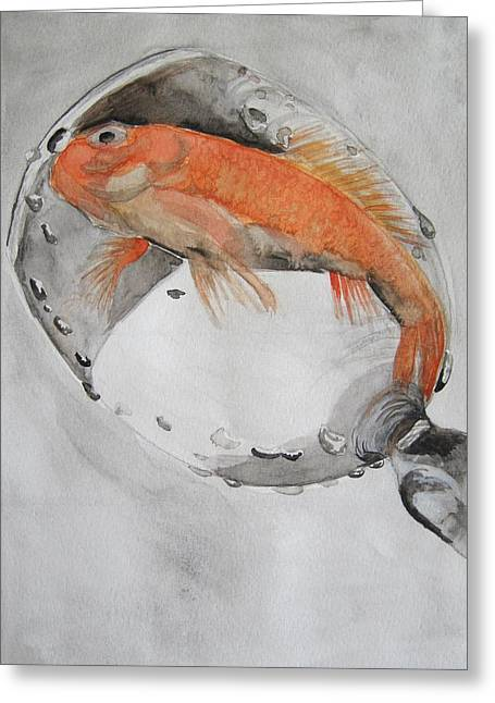 Golden Fish - One Wish Greeting Card by Ema Dolinar Lovsin