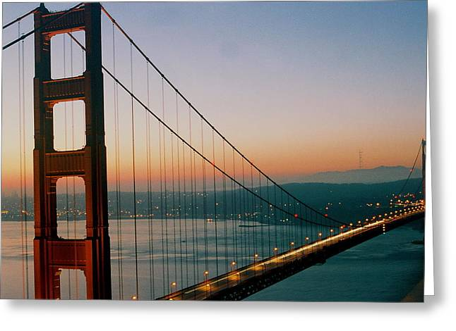 Golden Gate Blue Greeting Card by Trent Mallett