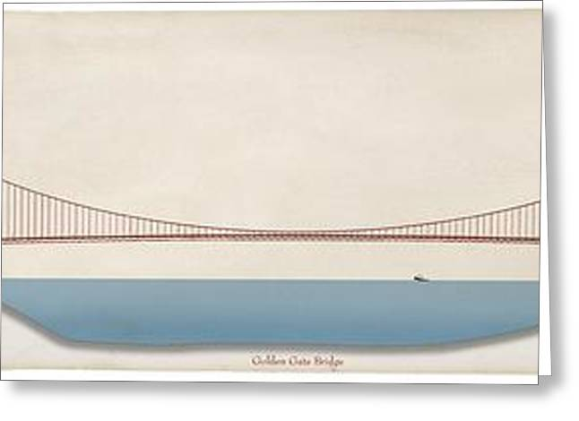 Golden Gate Bridge, Artwork Greeting Card by Claus Lunau