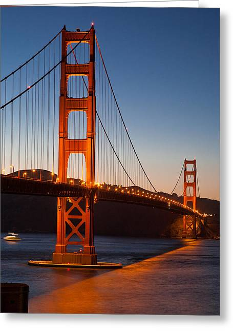 Golden Gate Bridge At Dusk Greeting Card