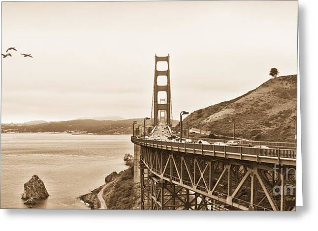Golden Gate Bridge In Sepia Greeting Card by Betty LaRue