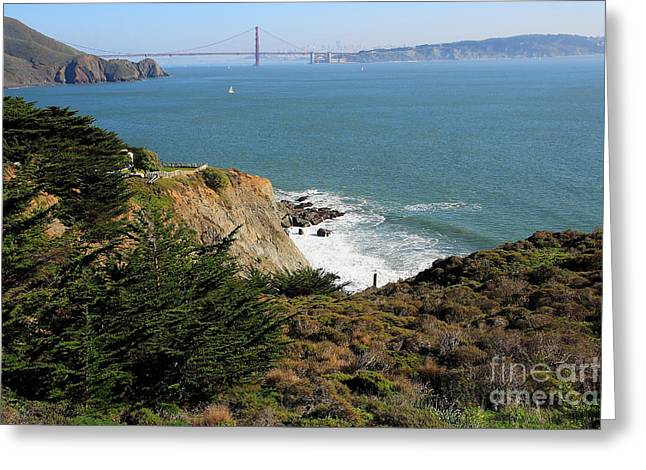 Golden Gate Bridge Viewed From The Marin Headlands Greeting Card by Wingsdomain Art and Photography