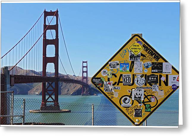 Golden Gate Stickers Greeting Card by Cedric Darrigrand
