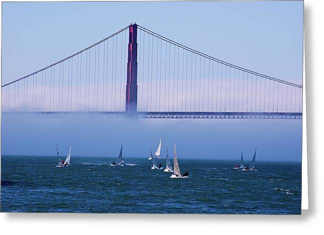 Greeting Card featuring the photograph Golden Gate Windsurfers by Don Schwartz