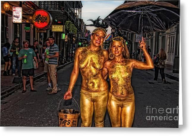 Golden Girls Of Bourbon Street  Greeting Card by Kathleen K Parker