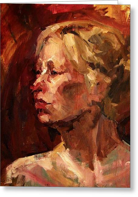 Golden Hair Portrait Of Woman Head In Crimson Yellow Hardworking Fieldworker Mother Whos Thoughtful Greeting Card