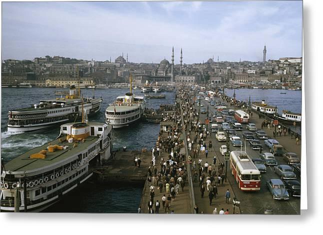 Golden Horn Ferries Dock At Ramps Greeting Card by Otis Imboden