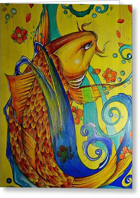 Greeting Card featuring the painting Golden Koi by Sandro Ramani