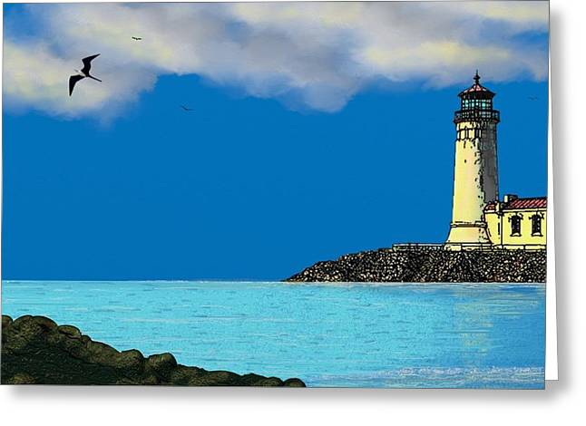Golden Lighthouse Greeting Card by Tony Rodriguez