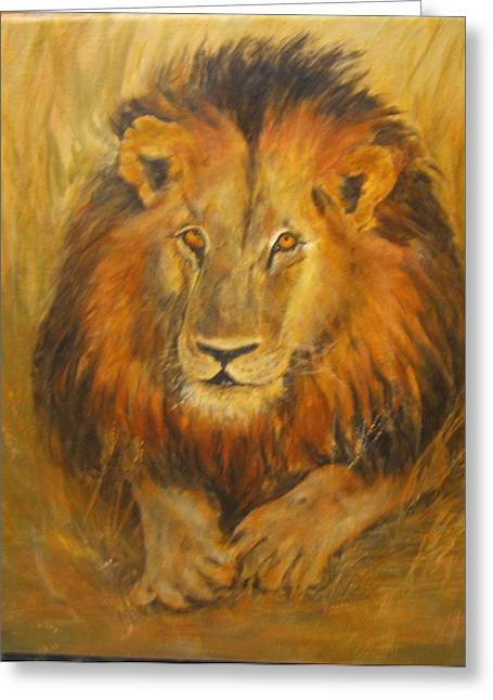 Golden Lion Greeting Card by Maureen Pisano