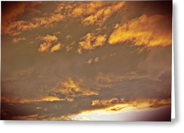 Golden Lit Sky After The Rain Greeting Card by Lee Yang