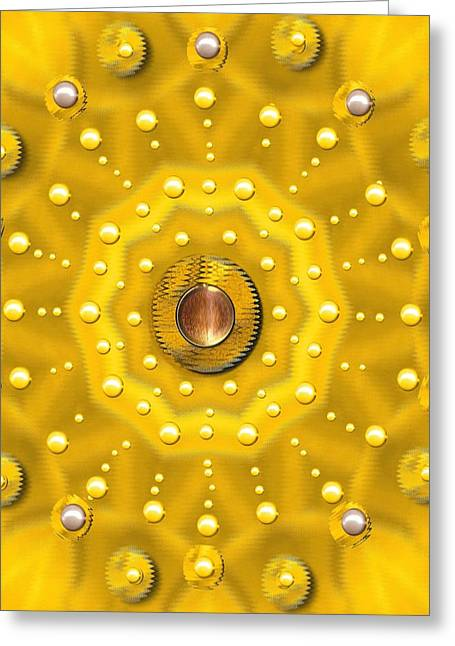 Golden Mandala With Pearls Greeting Card