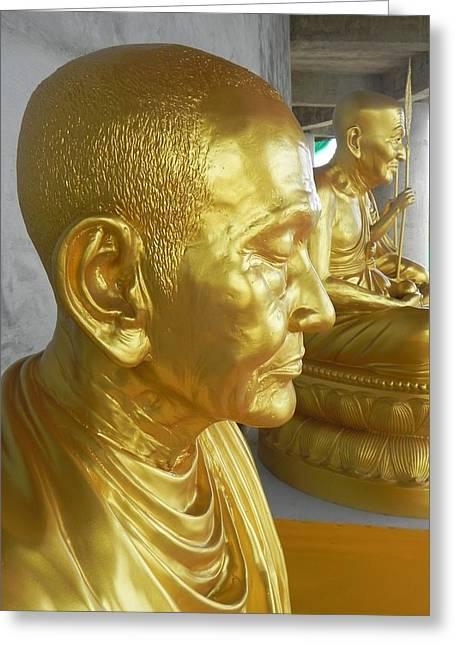 Golden Monk Greeting Card by Jarrod Faranda