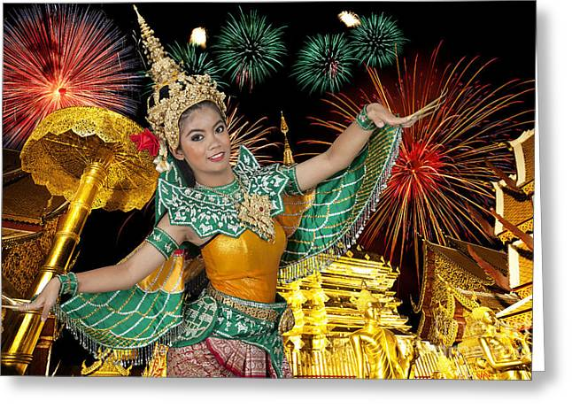 Golden Pagoda At Doi Suthap In Chiangmai With Fire Work Greeting Card by Anek Suwannaphoom
