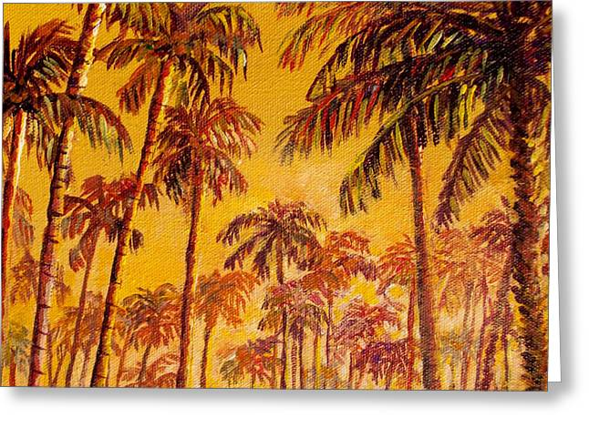 Greeting Card featuring the painting Golden Palm Trees by Lou Ann Bagnall