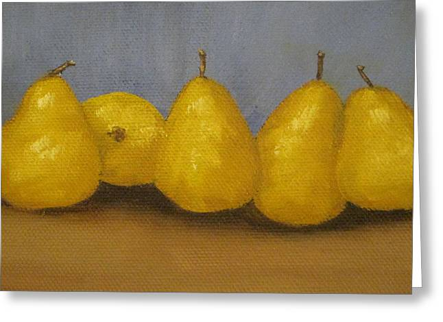 Golden Pears With Blue Greeting Card by Patricia Cleasby