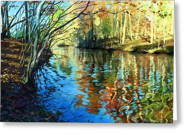 Golden Reflections Greeting Card by Sergey Zhiboedov