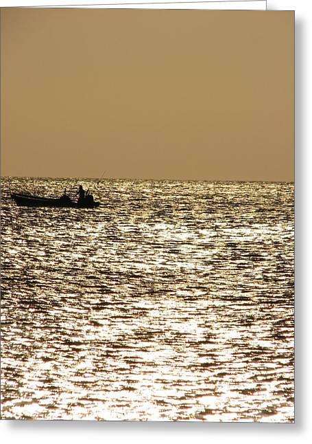 Golden Sea Greeting Card by Gal Moran