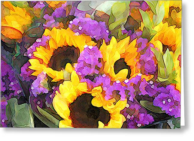 Golden Sunflowers And Purple Statice Greeting Card