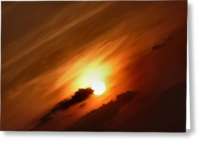 Golden Sunset Greeting Card by Debra Collins