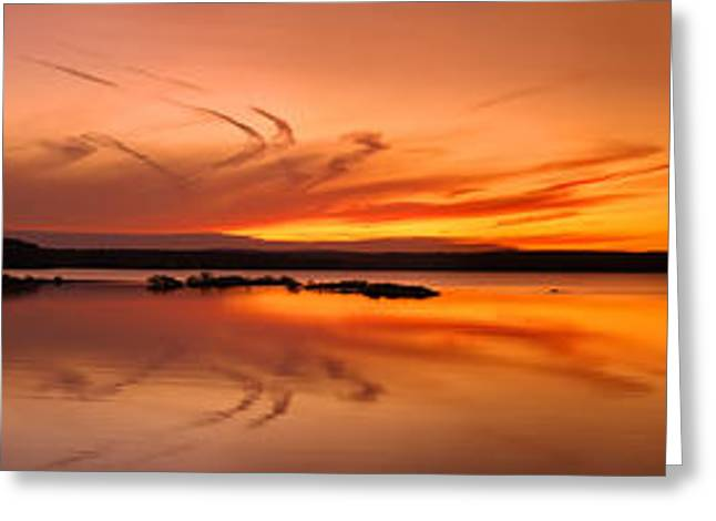 Golden Sunset Panorama On A Quiet Lake Greeting Card by Sebastien Coursol