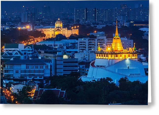 Golden Temple Bangkok Night Greeting Card by Arthit Somsakul