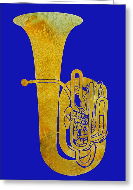Golden Tuba Greeting Card by Jenny Armitage