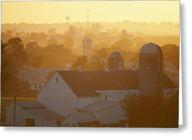 Golden Twilight Upon The Silos And Farm Greeting Card by Michael S. Lewis