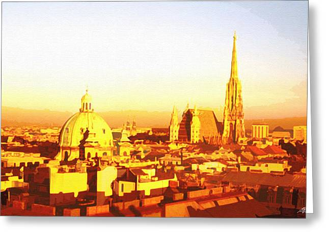 Golden Vienna Greeting Card by Steve Huang