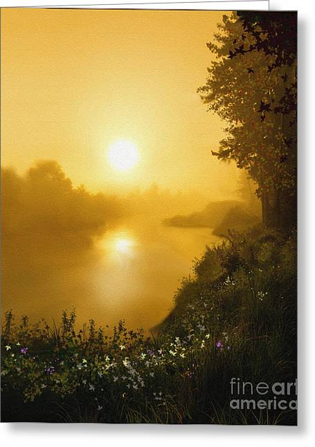 Golden View Greeting Card by Robert Foster