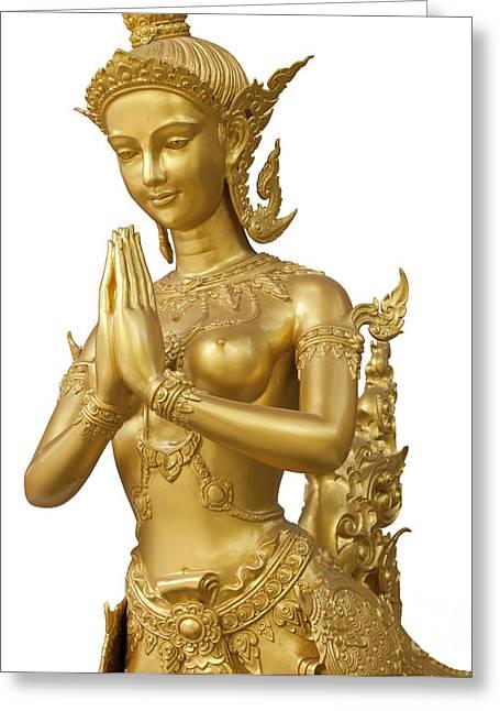 Goldent Ginnaree Statue Art Greeting Card by Anek Suwannaphoom