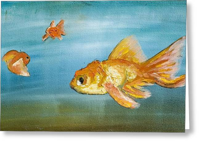 Goldfish Greeting Card by Anthony Cavins