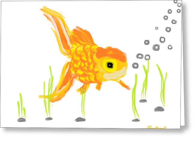 Goldfish Greeting Card by Watcharee Suebkhajorn