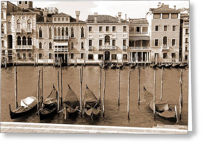 Greeting Card featuring the photograph Gondolas Outside Salute by Donna Corless