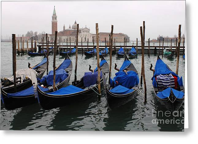 Gondolas The Grand Canal  Greeting Card by Bob Christopher