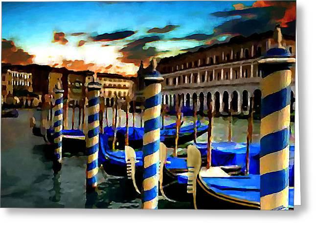 Gondolas Under A Summer Sunset Greeting Card by Jann Paxton