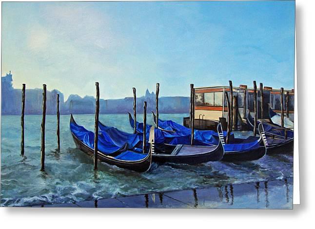 Gondolier Dock Venice Italy Greeting Card