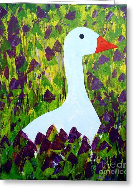Greeting Card featuring the painting Goose by Barbara Moignard